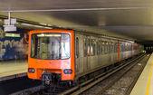 Train on Heysel metro station in Brussels, Belgium — Stock Photo