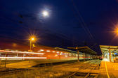 German night train departing from Offenburg station — Stock Photo