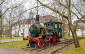 Monument of steam locomotive in Karlsruhe Institute of Technolog — Stock Photo