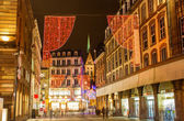 Christmas decorations on streets of Strasbourg. Alsace, France — Zdjęcie stockowe