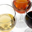 Wine collection: Three wine glasses on the table — Stock Photo
