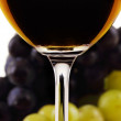Wine collection: Red wine glass in front of blurred grapes — Stock Photo