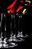 Wine collection: Three wine glasses on dark background — Stock Photo