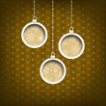 Three Christmas balls. Snow flakes decoration. Vintage style. Yellow background — Stock Photo #36226971
