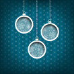 Three Christmas balls. Snow flakes decoration. Vintage style. Blue background — Stock Photo #36227123