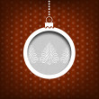Christmas ball. Pine tree decoration. Vintage style. Red background — Stock Photo