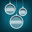 Christmas balls. Pine tree decoration. Vintage style. Blue background — Stock Photo