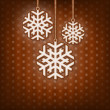 Christmas card with hanging snow flakes. Vintage style. Blue background. — Stockfoto