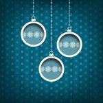 Three Christmas balls. Snow flakes decoration. Vintage style. Blue background — Stock Photo #36228571