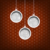 Three Christmas balls. Snow flakes decoration. Vintage style. Red background — Stok fotoğraf