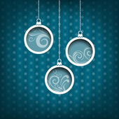 Three Christmas balls. Swirls decoration. Vintage style. Blue background — Stock Photo