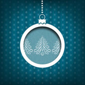 Christmas ball. Pine tree decoration. Vintage style. Blue background — Stock Photo