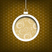 Christmas ball. Swirls decoration. Vintage style. Yellow background — Stock Photo