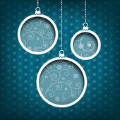 Christmas balls. Swirls decoration. Vintage style. Blue background — Stock Photo