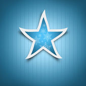 Blue Christmas card. Blue Christmas star with snow flakes decoration. — Stock Photo