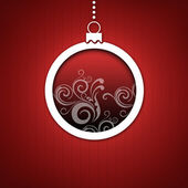 Red Christmas card. Red Christmas hanging ball with snow flakes decoration. — Stock Photo