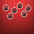 Stock Photo: Red Christmas hanging balls on red background