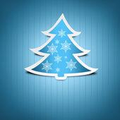 蓝色的圣诞贺卡。蓝色雪雪花装饰圣诞树. — 图库照片