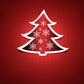 Red Christmas card. Red Christmas tree with snow flakes decoration. — Stock Photo