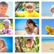 Children and summer collage — Stock Photo