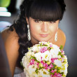 Beautiful bride posing in her wedding day — Foto de Stock