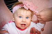 Baby girl in pink — Stock Photo