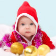 Christmas toddler in Santa hat  — Stock Photo