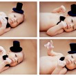 Collage newborn baby dressed hat — Stock Photo #41300039