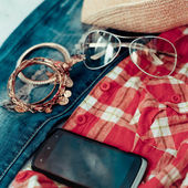 Overhead of essentials of a modern woman — Stock Photo
