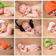 Set of funny babies or children weared in hats . — Stock Photo