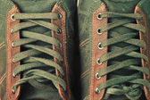 Brown leather shoe laces in close-up — Stock Photo
