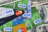 UKRAINE - on May 8: Heap of credit cards, Visas and MasterCard, — Stock Photo