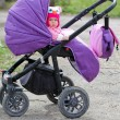 Cute baby sitting in the stroller — Stock Photo #49423101