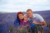 Lyckliga familjen mamma, pappa och dotter — Stockfoto