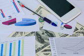 Business background, financial data concept with pen — Stock Photo