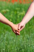 Couple holding handsromantic — Stock Photo