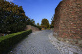Park and ancient walls in Kalemegdan fortress in Belgrade Serbia — Stock Photo