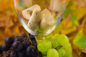 Grapes and corkscrew in a wine glass — Stock Photo