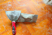 Trowel with gypsum — Stock Photo
