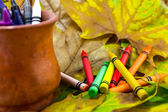 Crayons lying in chaos — Stockfoto