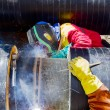Welders working on a pipeline. — Foto Stock