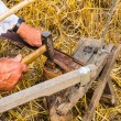 Sharpening a scythe — Stock Photo