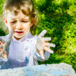 Child with dirty hands chalk — Stock Photo