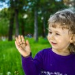 Outdoor portrait of cute little girl on the meadow — Stock Photo #37087329