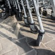 Stock Photo: Wheels on market carts