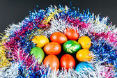 Decorated Easter eggs in a nest — Stock Photo