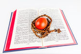 Easter egg with rosary on a holy Bible — Stock Photo