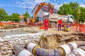 Neue pipeline in nachbarschaft — Stockfoto