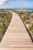 Beach way to Illetes beach in Formentera Balearic islands — Stock Photo