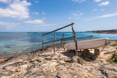 Es Pujols port in Formentera island fiber boat railways — Stock Photo